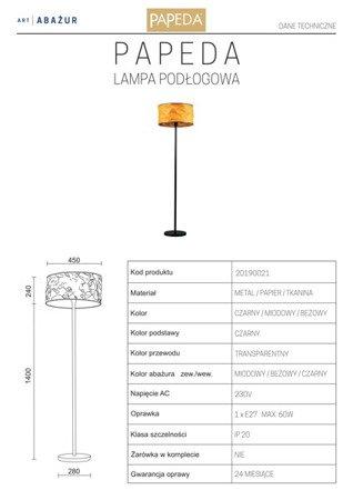 LAMPA PODŁOGOWA KOLOR MIODOWY