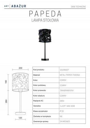 LAMPA STOŁOWA KOLOR CZARNY